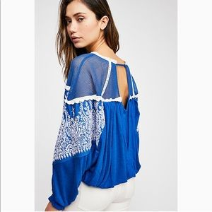 FREE PEOPLE Carly Embroidered Dolman Mesh Blouse L